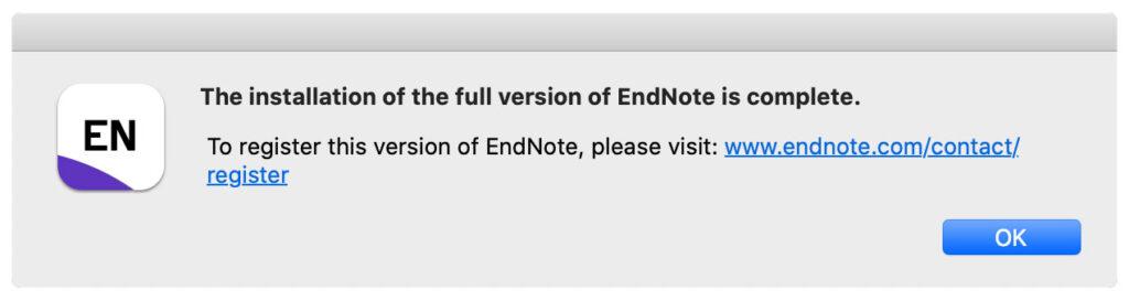 EndNote 20 Installation